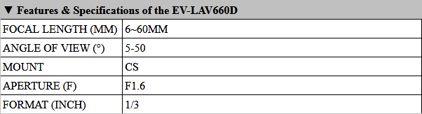 EV-LAV660D Product Info
